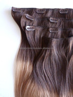 Clips-ins,clips on hair extension Brazilian human hair extension in manufacture price