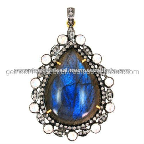 Pave Diamond Gemstone Jewelry, Moonstone and Labradorite Gemstone Pendant