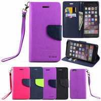 Diary Flip Leather ID Wallet Case Cover With Stand and Strap For iPhone 6 4.7