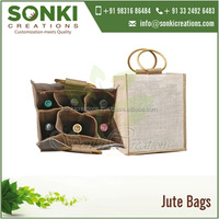 High Quality Six Bottle Jute Wine Bag with Round Cane Handles and Dividers
