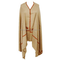 Beige Pashmina Shawl Winter Wool Blend Elegant Stole Embroidered Crewel Wrap SHW904