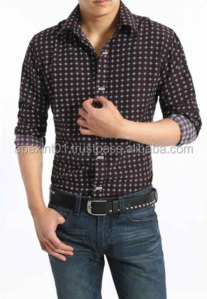 wholesale OEM men dress shirts latest dress designs cotton check long sleeve men shirt