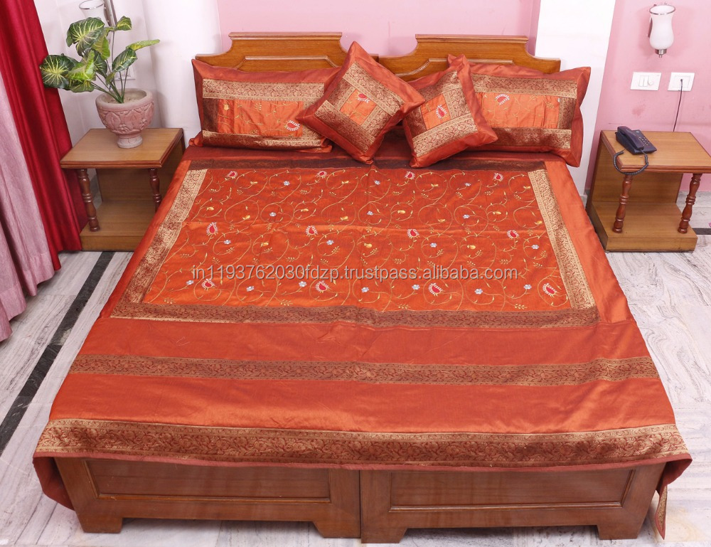Home Furnishing King Embroidered Jaipur 5 Piece Traditional 100 % Silk Bed Cover Bedspared