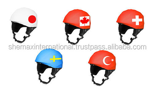 Flags helmet covers for skiing, snowboarding, scootering, cycling