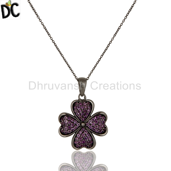 February Birthstone Pendant Jewelry Wholesale Natural Amethyst Gemstone 925 Silver Chain Pendants Manufacturer India