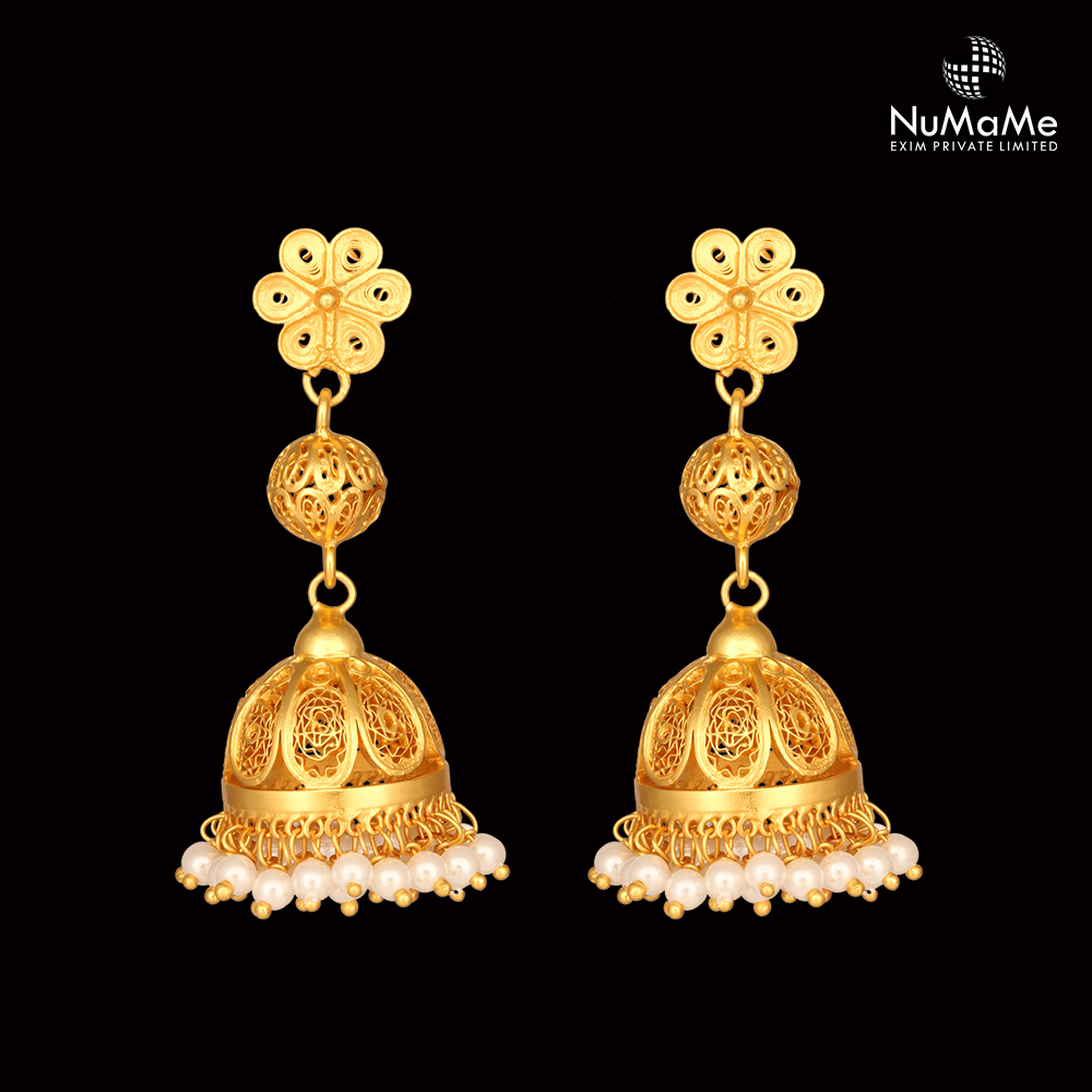 Traditional Filigree Floral Jhumka Earrings Handmade in Gold Plated 925 Sterling Silver with White Pearls