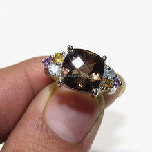 Brilliant 925 Sterling Silver Stylish Ring with Smoky Quartz and Mix Stones on Wholesale price.