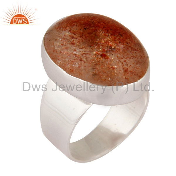925 Sterling Silver Designer Ring Natural Sun Stone Handmade Mens Rings Manufacturer Natural Gemstone Jewelry