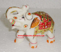 Handmade Marble Gold Painting Elephant Sculpture