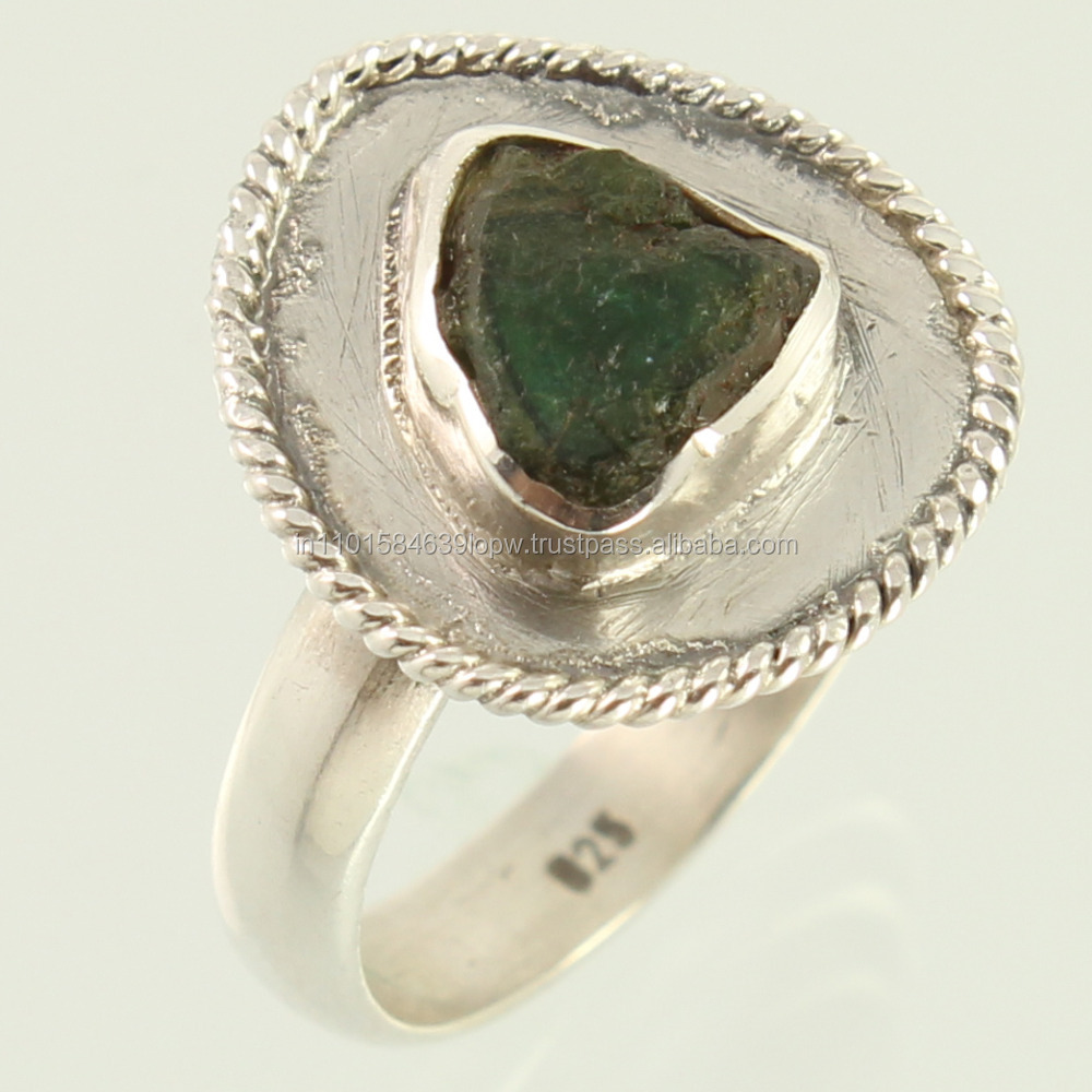 Natural GREEN TOURMALINE Gems 925 Sterling Silver Indian Jewelry Ring Fancy Size