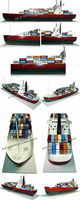 CONTAINER SHIP BIG SIZE1. NEW!! Wooden Model Container Ships