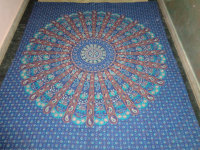 hand printed indian round mandala printed tapestry