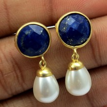 Ocean Breeze !! White Pearl_Blue Lapis 925 Sterling Silver Earring, Indian Fashion Silver Jewelry, Wholesale Gemstone Rings