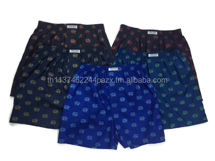 Thai Silk Brand Boxer Shorts Underwear in Big Elephant Printed design