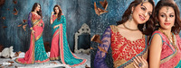 Savvy Teal Brasso With Double Blouse Designer Saree/fancy saree blouse designs/wholesale saree