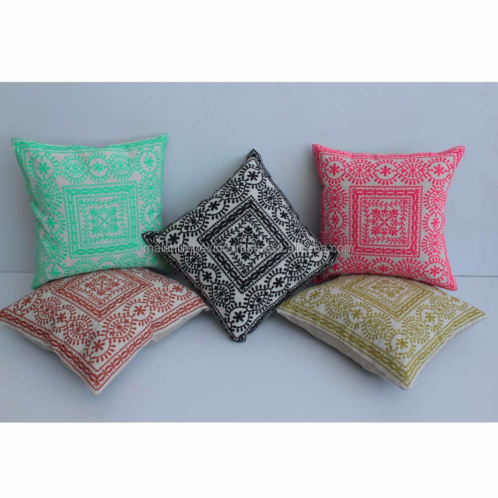 Indian Supplier of Bulk Quantity in Square Shape Embroidered Design Cushion Cover for Breathable Seat Cushion