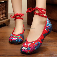 Chinese Style Casual Old Peking Flats Flowers Embroidered Walking Cloth Shoes
