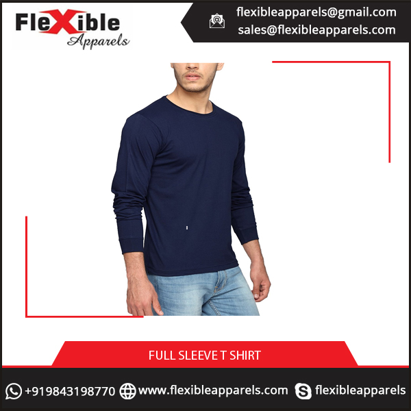 Fashionable Navy Round Neck Full Sleeve PLain T-Shirt of Best Fabric for Men