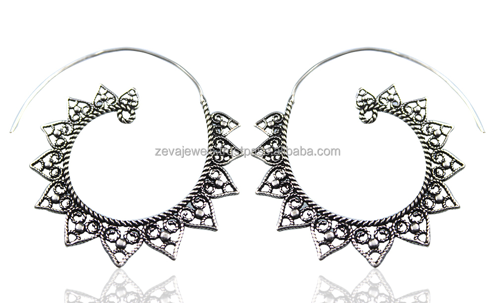 Popular Latest Wholesale Bulk Filigree Fashion Antique Oxidized Silver Plated Womens Girls Drop Earring Jewelry 1275
