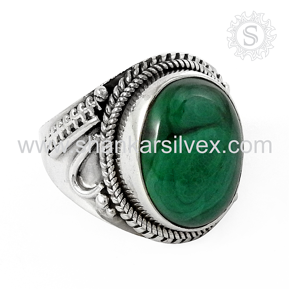 Making lovely Green Malachite Ring 925 Silver Jewelry Wholesale Manufacture Indian Silver Jewelry