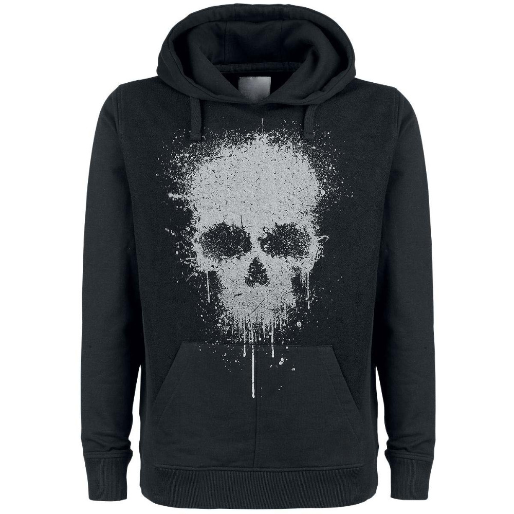 Terrible face printed on front black colour hoodie pullover