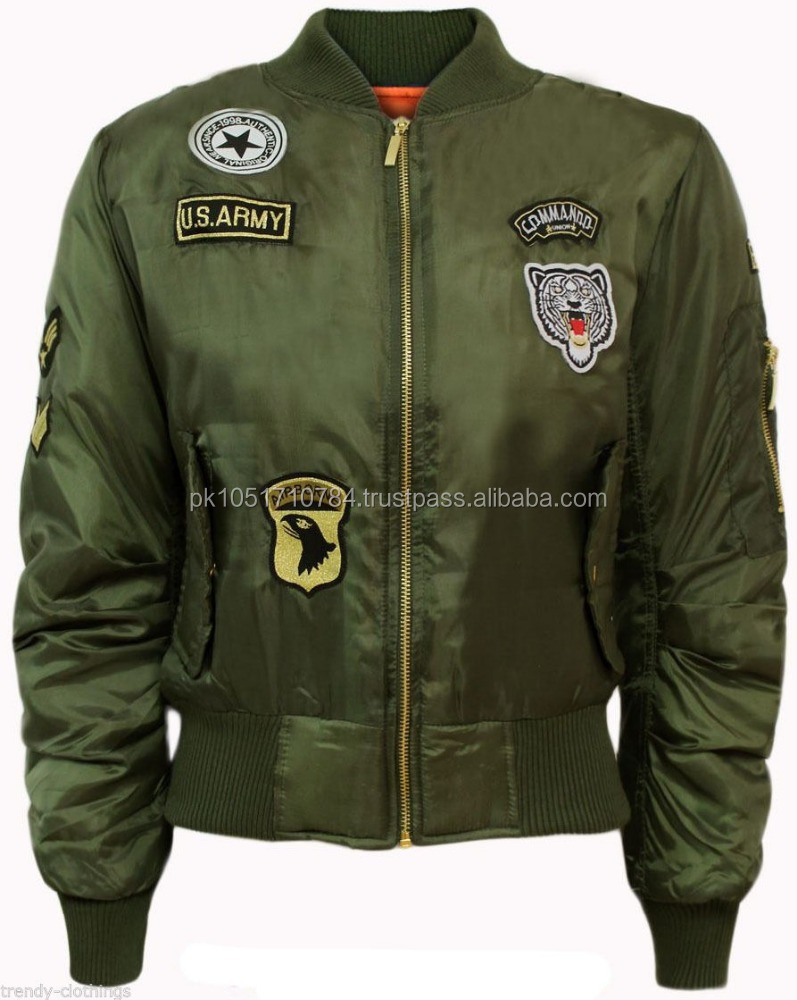 Womens Ladies Classic Army Style Embroidery Patch Bomber Jacket Zip Up Biker Vintage Jacket