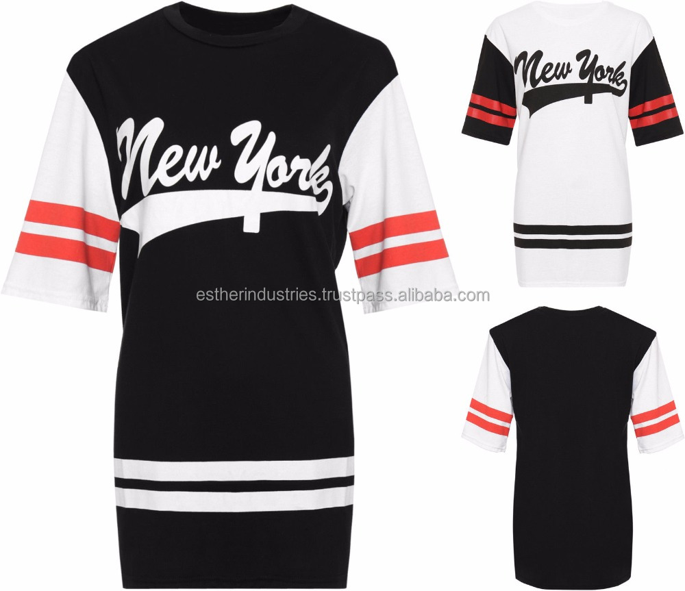 Women's Plus New York Baseball Top Ladies Striped Print Baggy Oversized T-Shirt/100% Cotton/latest Baseball Style Print