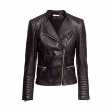 Latest Design Leather Jacket Classic Moto Design Women Black Vegan Leather Jackets