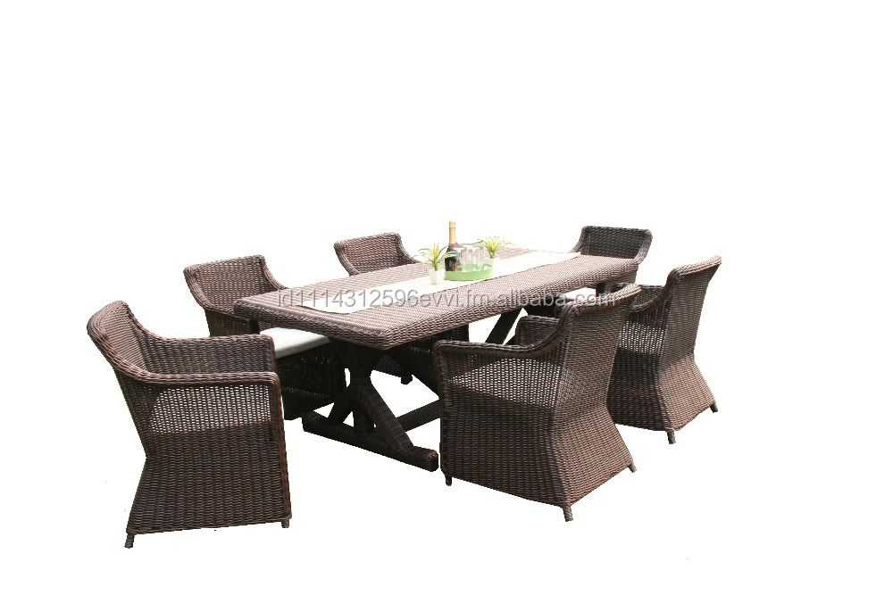 Synthetic Rattan Outdoor Garden Juliana Dining Furniture Set (with Aluminum Frame)