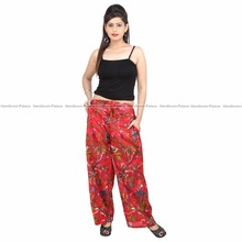 Women's Wear Fashionable Floral Printed Trousers Loose Wide Leg Summer 100%Cotton Long Red Palazzo Unisex Yoga Pants