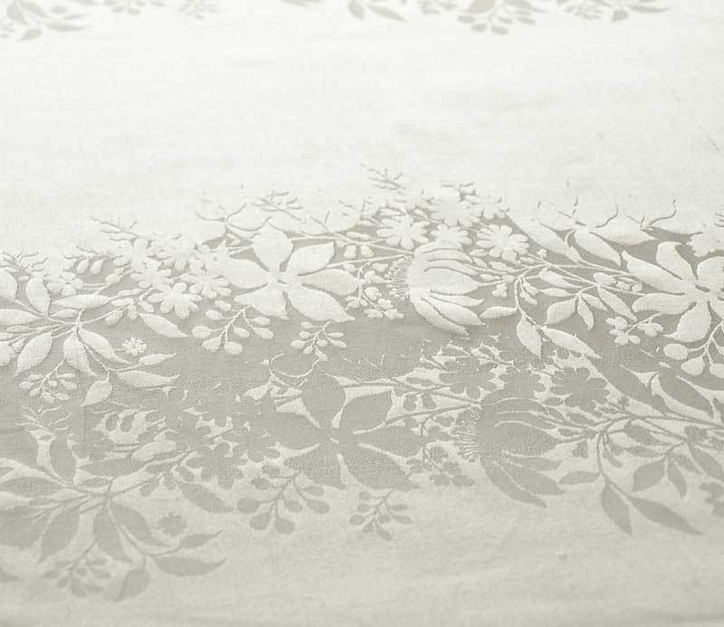 White Floral Fabric Cream Ivory 100% Silk Damask Drapery Fabric