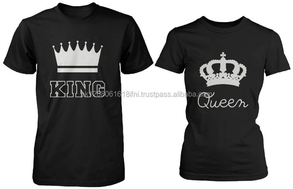 king queen couple love printed cotton t shirt with brand logo OEM