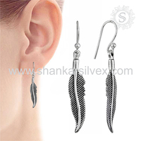 New Arrival Leaf Design Earring 925 Sterling Silver Wholesale Indian Silver Jewelry Exporter