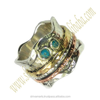 Vintage Jewelry 925 sterling silver brass copper turquoise gemstone meditation ring