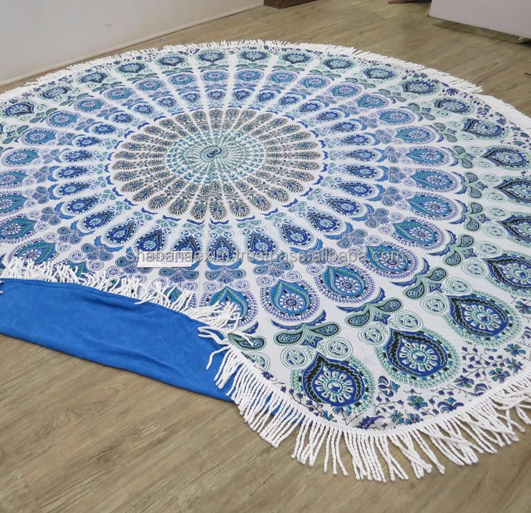 Round beach towel Mandala 100% Cotton round terry beach blanket