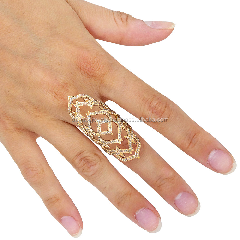 18k Solid Gold Pave Diamond Inspired New Latest Design Full Finger Cage Ring Wholesale Gold Jewelry