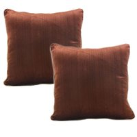 Set of 2 Brown Throw Pillow Cushion Covers Cases for Sofa - Hand Woven Velvet Bedding Accessories