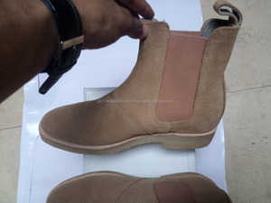 Chelsea Suede Leather Boots handmade Men style Crepe Sole Beige Color Upper Suede New Fashion Whole Sale Rate boot shoes