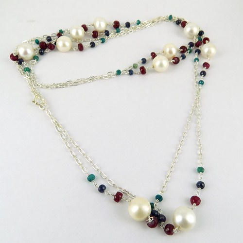 Exclusive !! Pearl_Ruby_Blue Sapphire_Emeral 925 Sterling Silver Necklaces, Fresh Silver Jewelry, Fashion Shows Jewelry