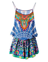 Custom-made jumpsuit women playsuits 2016 summer, digital print and bead work.