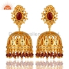 Gold Plated Pink Tourmaline Jhumka Earring Indian Bridal Pave Diamond Jhumka Earring