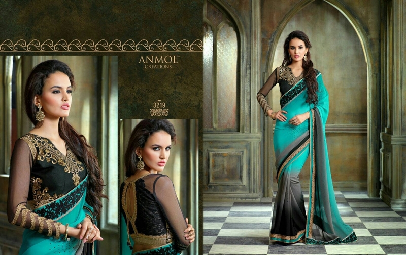 LATEST GEORGETTE SAREES WITH DESIGNER BLOUSE