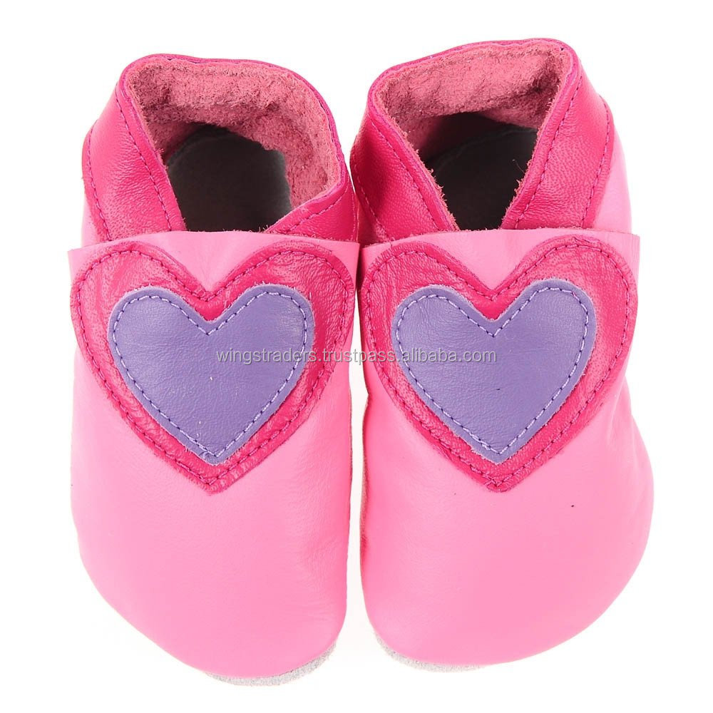 Handmade Infant Pure Soft Cow Leather Baby Boys Heart Style Soft Sole Shoes