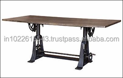 INDUSTRIAL furniture drafting Dining TABLE with RECLAIMED wood top