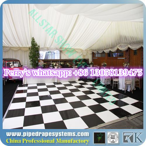 RK white and black glass dance floor over pool at home dance studio for sale