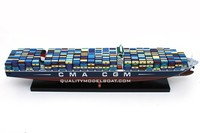 CMA CGM JULES VERNE WOODEN MODEL SHIP