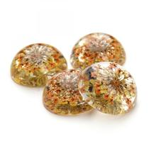 Transparent round two side flat glass cabochons 25mm with Dried flower floral Flat Round flat back 1141175
