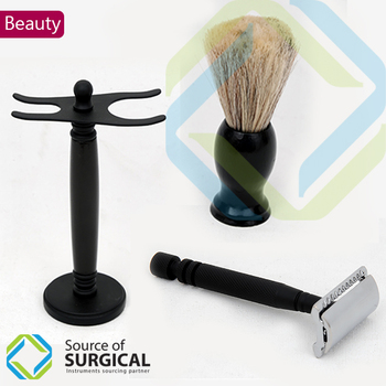 Shaving Safety with Stands and Shaving Brush Complete Set.