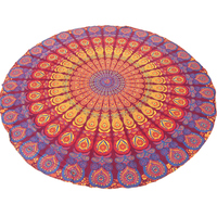 Fringed Indian Cotton Bohemian Mandala Roundie Tapestry Floor Yoga Mats Cotton Throws Blanket NCRT-28