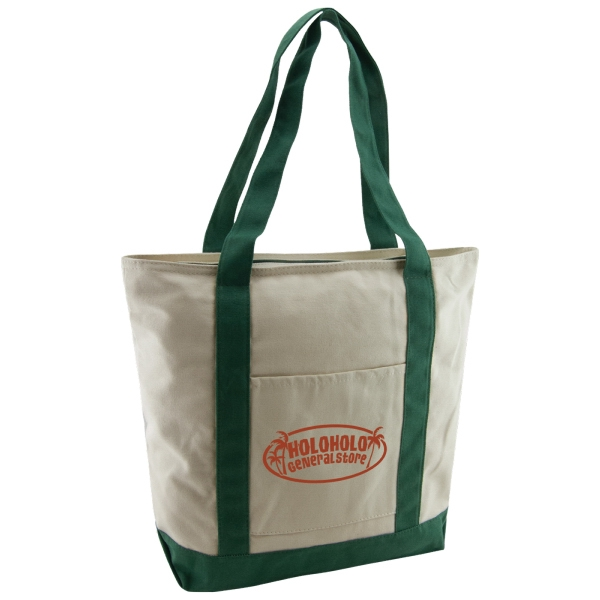 Boat Tote Bag - made from 12 oz. 100% biodegradable cotton and comes with a front pocket, zipper closure and your logo.